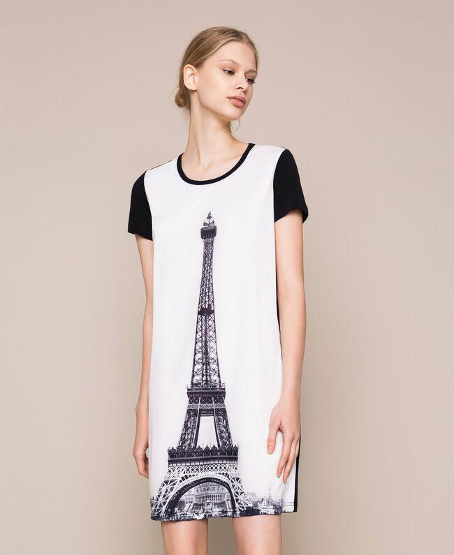 Ночная рубашка с принтом Черный женщина 201LL26CC-01