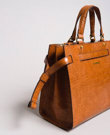 Crocodile print shopper Leather Brown Woman 191TA7122-04
