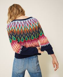 Multicolour jacquard jumper with embroidery Midnight Blue Woman 202MP3080-03