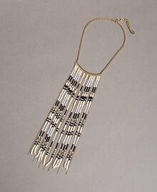 Choker necklace with chain fringes and beads Black Woman 191TO534B-01
