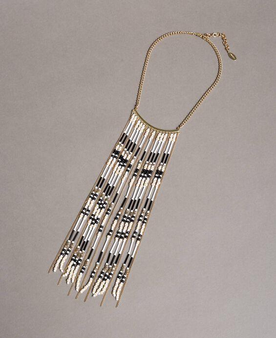 Collier ras-du-cou à chaînes frangées et perles