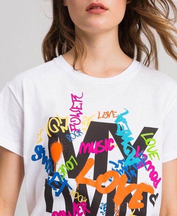 T-shirt con logo e stampa multicolor