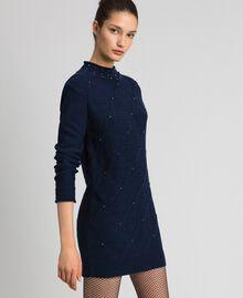 Minikleid aus Wollmischung mit Rauten und Nieten Nachtblau Frau 192ST3181-02
