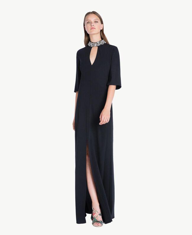 Robe longue broderie Noir Femelle QA7PBP-01