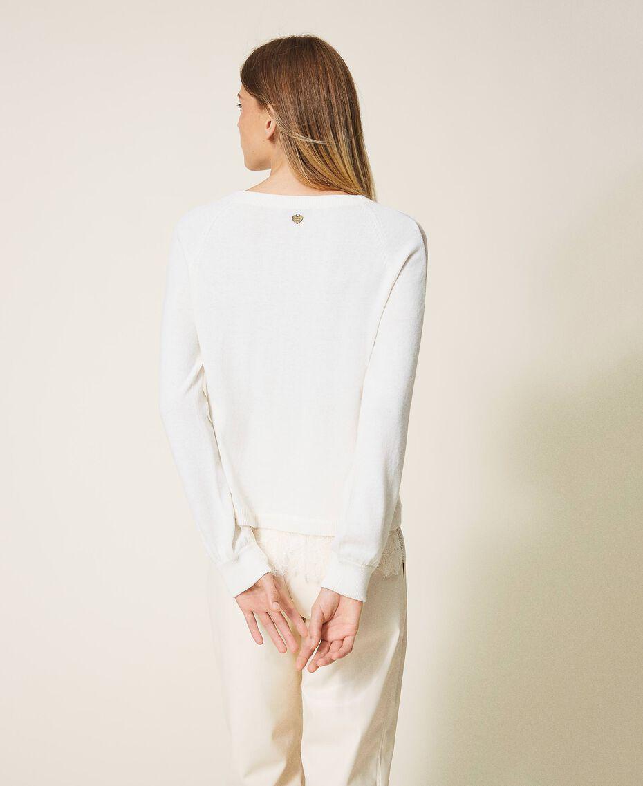 Maglia in misto lana con pizzo Bianco Neve Donna 202TT3133-03