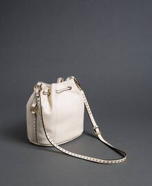 Faux leather bucket bag with studs White Snow Woman 192TO8163-04