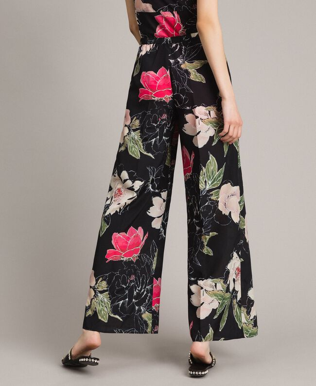 Floral print crêpe de Chine trousers All Over Black Flowers Print Woman 191MT2212-03