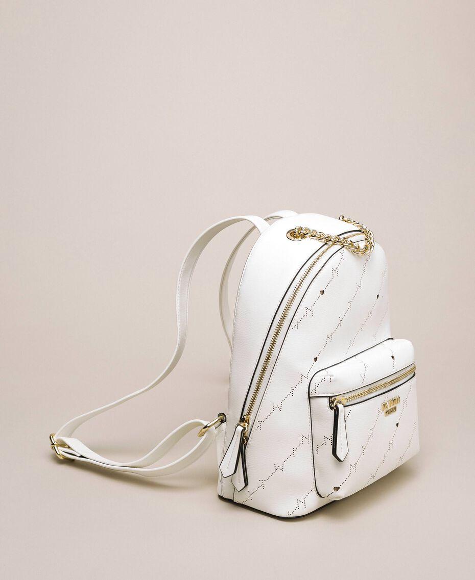 "Sac à dos en similicuir perforé avec logo Blanc ""Ice"" Femme 201MO8012-01"