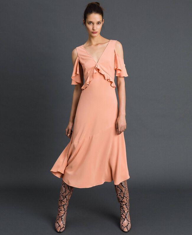 Robe longue en crêpe georgette avec volant Rose Mousse Femme 192TP2385-04