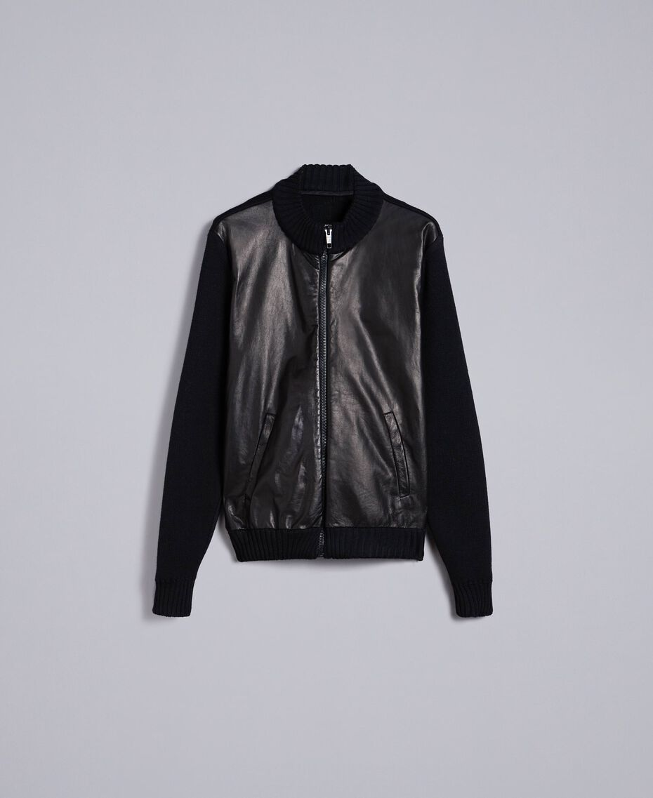 Leather and wool blend bomber jacket Black Man UA83FA-0S