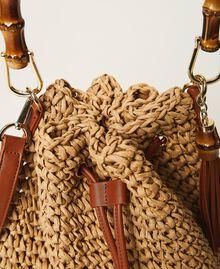 Weaved raffia bucket bag Straw Woman 211TD8241-04