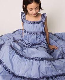 "Full-length muslin and satin gown ""Ice"" Dark Blue Child 201GJ2Q40-05"