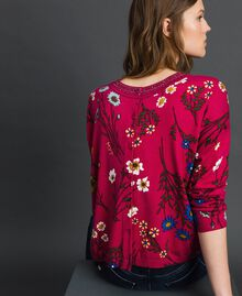 Dual use boxy jumper with rhinestones Amaranth Red Floral Print Woman 192MP3230-03