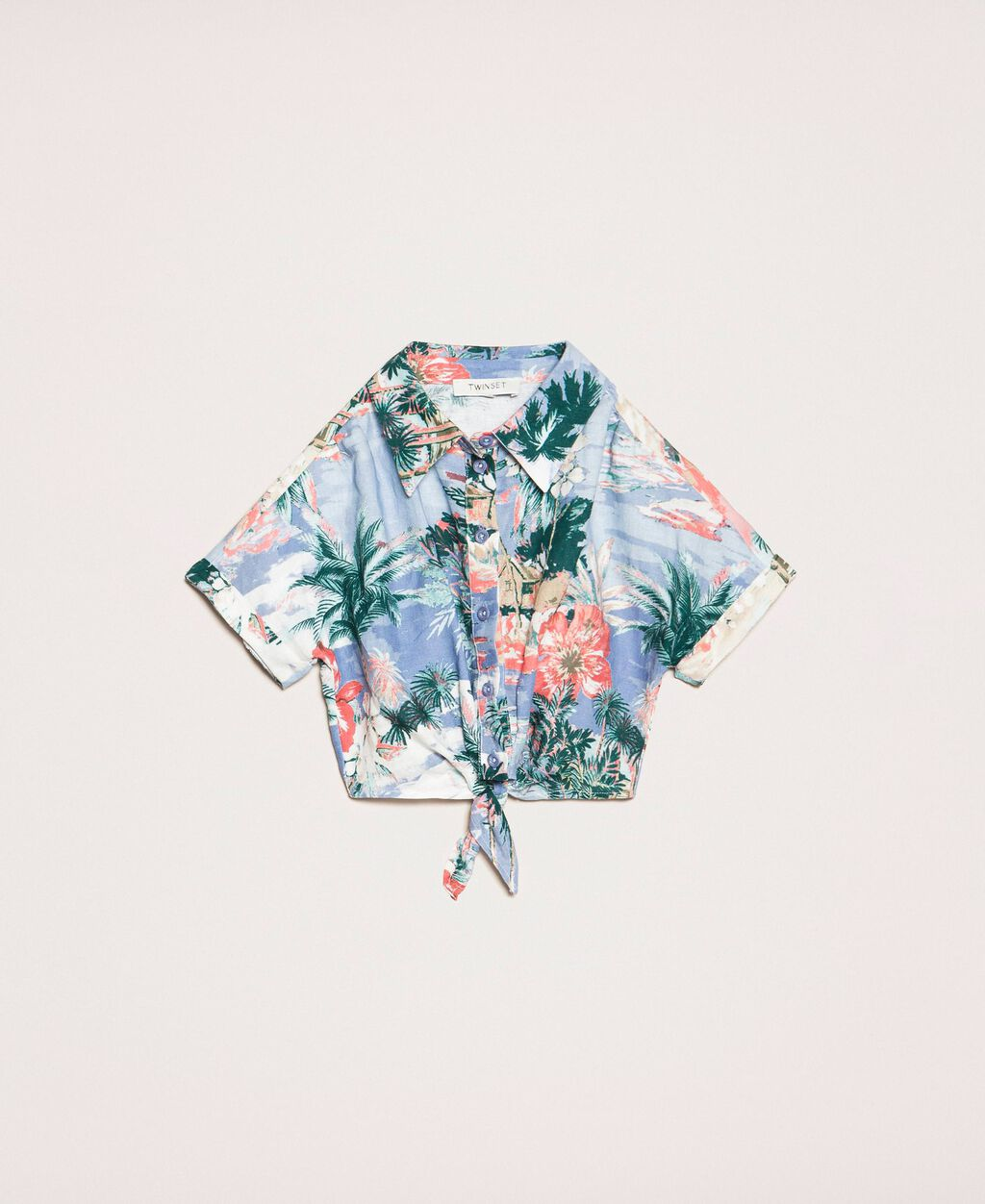 Printed linen blend shirt