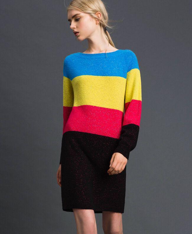 Robe color block en mélange de laine et lurex Tweed Lurex Femme 192MT3173-03
