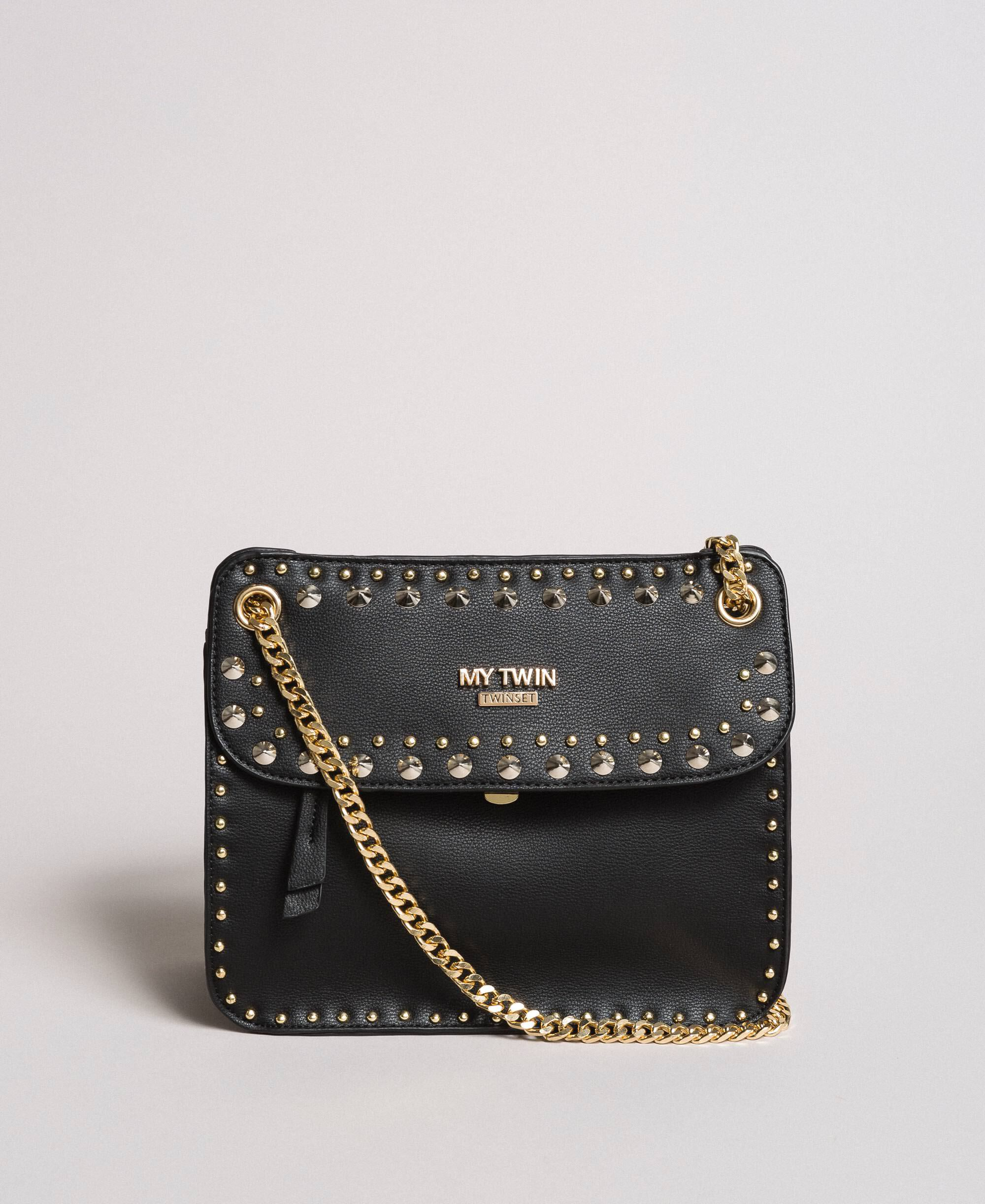 af4fb6df8ed Faux leather shoulder bag with studs Woman, Black | TWINSET Milano