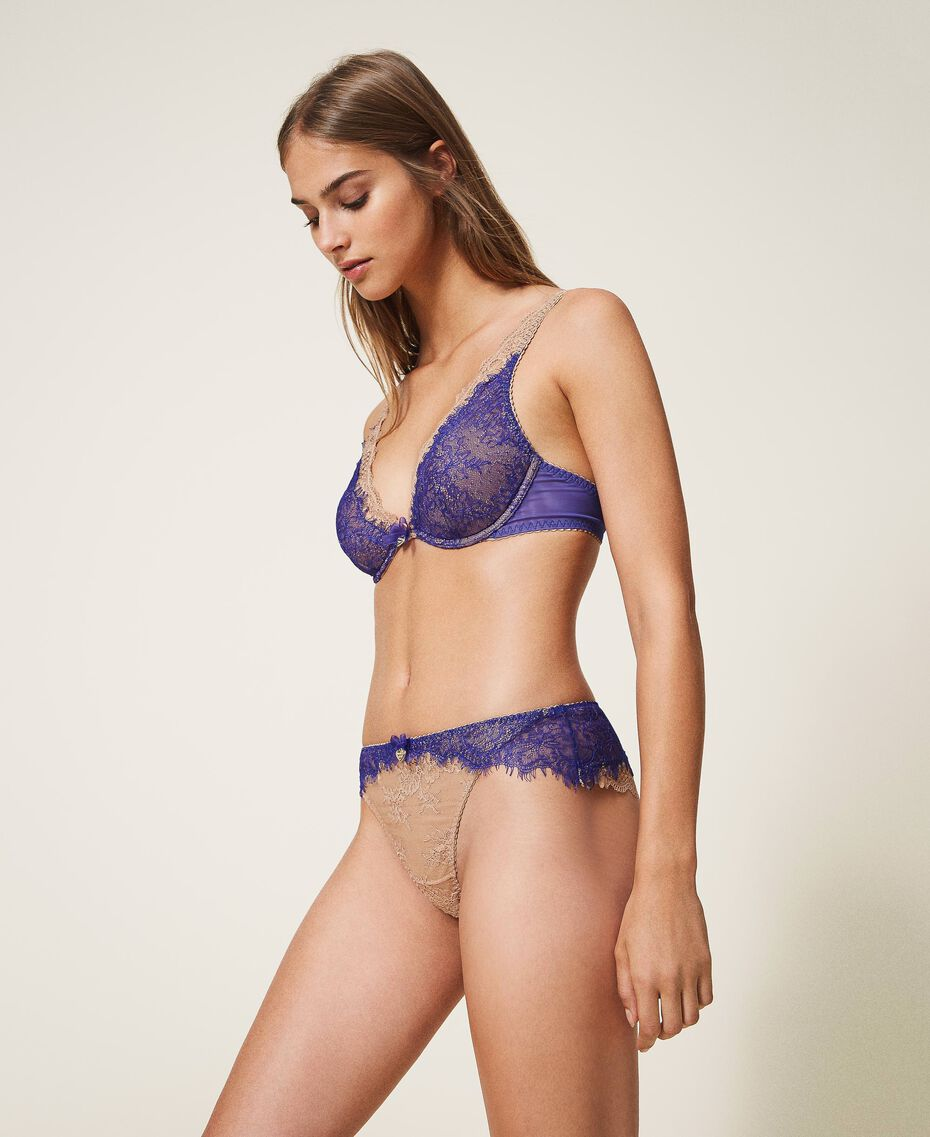 """Two-tone lace Brazilian briefs Two-tone Violet Blue / """"Amber Dust"""" Brown Woman 202LL6A77-01"""