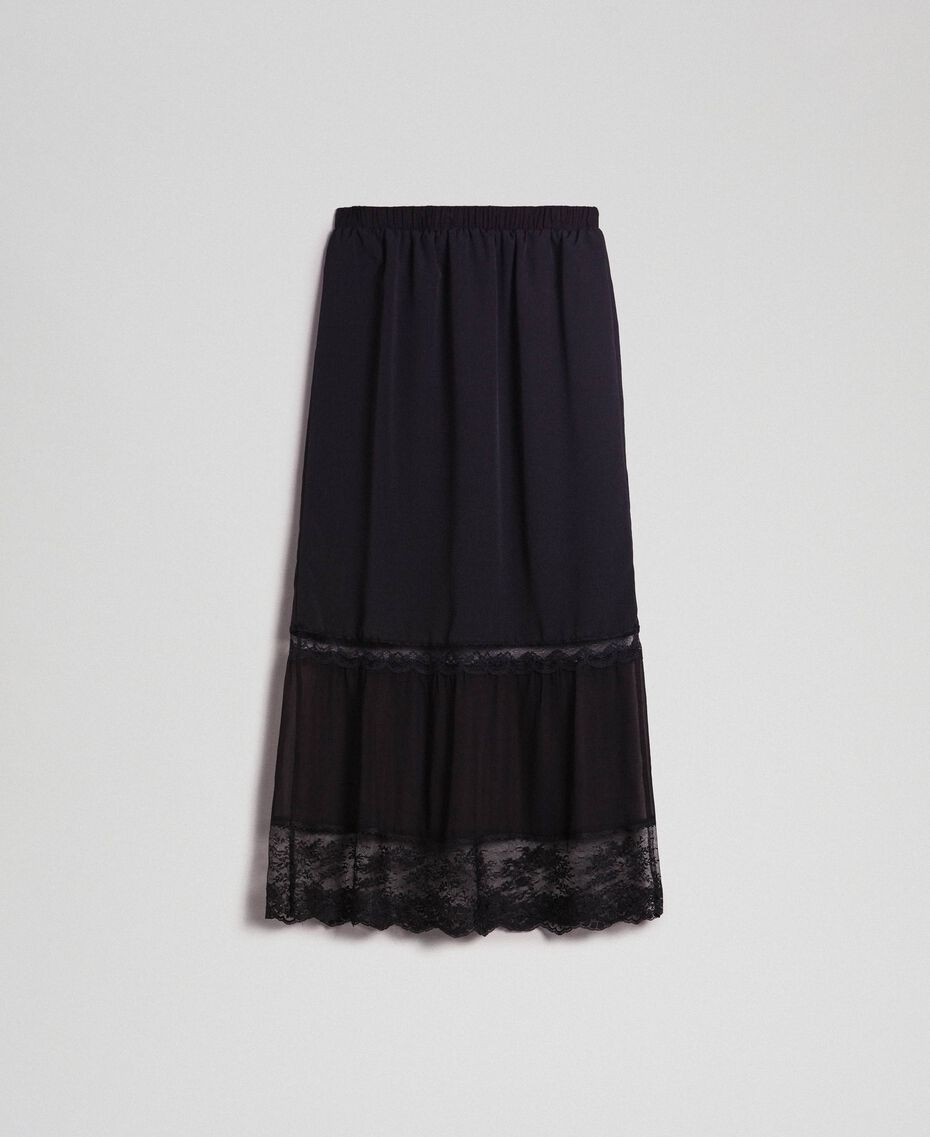Georgette midi skirt with lace Black Woman 192TP2574-0S