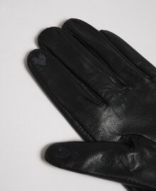 Leather gloves with velvet and stone bow Black Woman 192TA4343-03