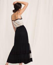 Jupe en crêpe de Chine et tulle plumetis Noir Femme 201TP2372-03