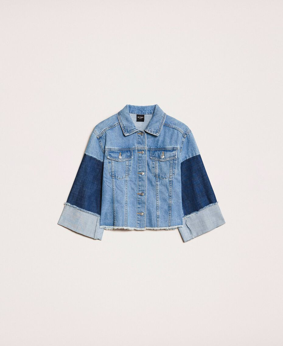 Blouson boxy en jean color block Bleu Denim Femme 201MP2290-0S