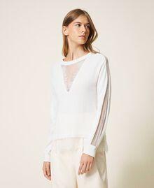 Maglia in misto lana con pizzo Bianco Neve Donna 202TT3133-01