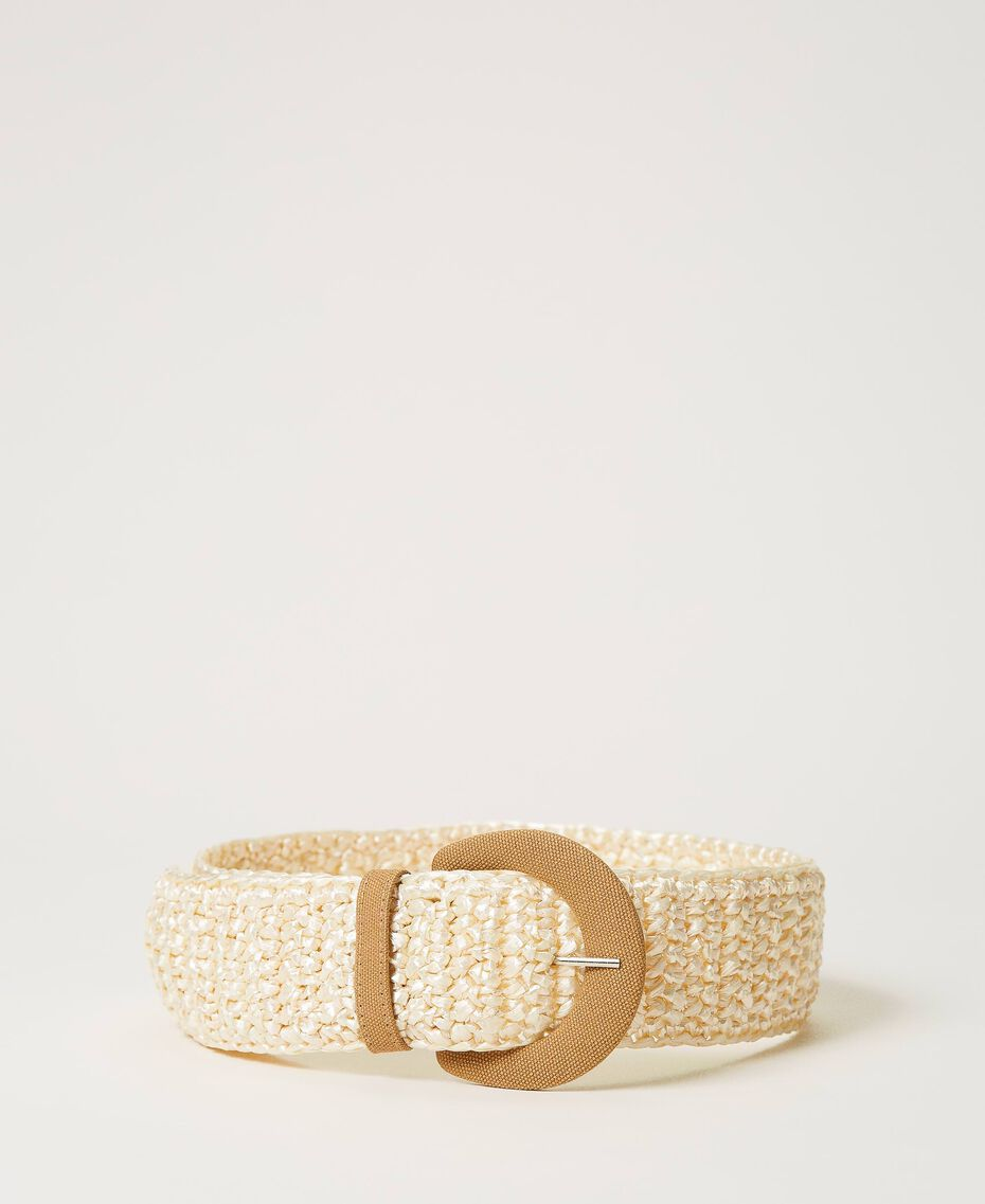 "Weaved raffia effect belt Two-tone ""Pecan"" Beige / ""Vanilla"" White Woman 211MO5302-01"