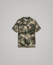 "Crêpe cotton printed polo shirt All Over ""Palms"" Camouflage Print Man 191UT3061-0S"