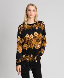 Printed wool maxi jumper with lace Black Baroque Flower Stripes Mix Print Woman 192TT3342-02