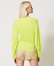 """Seamless jumper with wide sleeves """"Led"""" Yellow Woman 211TT3071-04"""