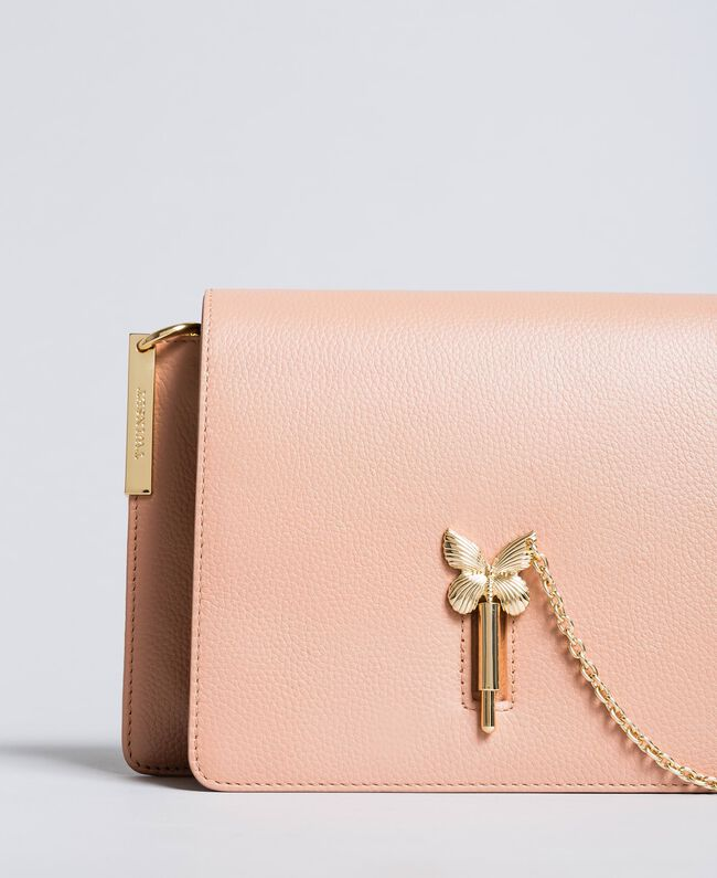 """Leather shoulder bag """"Pale Pink"""" Pink with Gold Butterfly clasp Woman OA8TEA-01"""