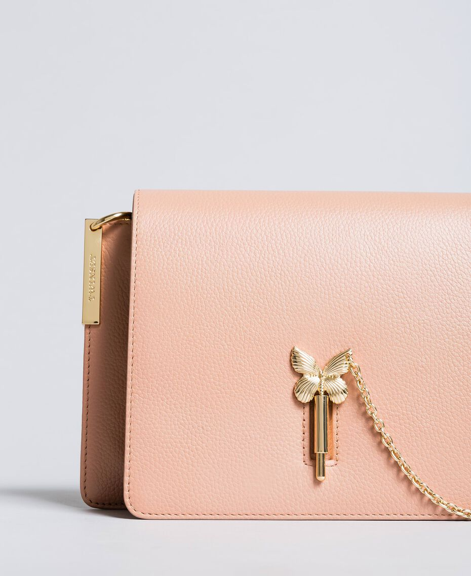 "Leather shoulder bag ""Pale Pink"" Pink with Gold Butterfly clasp Woman OA8TEA-01"