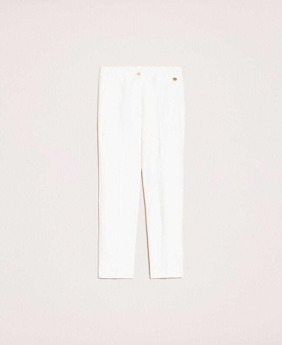 Pantalon cigarette en lin mélangé Blanc Neige Femme 201TP2256-0S