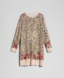 Ministrickkleid mit Animal- und Blumenprint Print Leopard / Blumen Kind 192GJ3180-0S