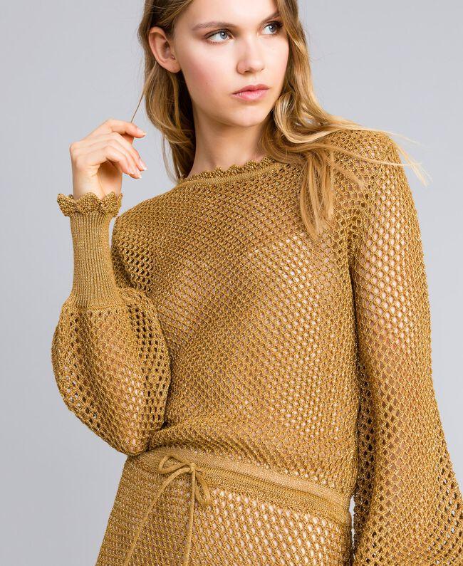 Mesh lurex long dress Gold Yellow Woman TA83EA-04