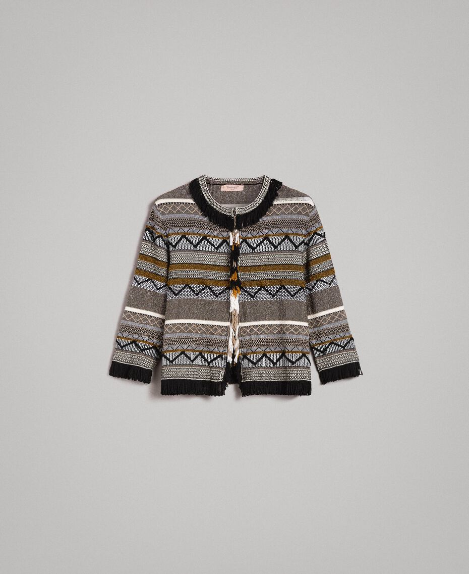 Round-neck jacket with inlay and fringes Multicolour Neutral Grey Striping Woman 191TT3161-0S