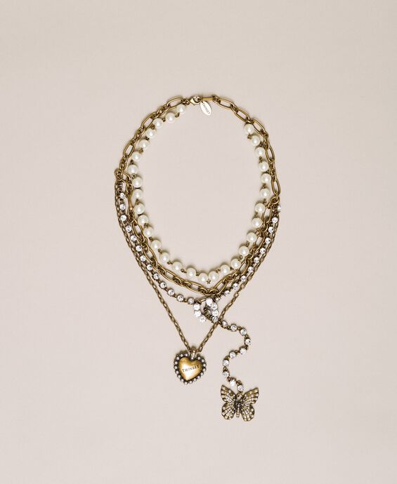 Multi-round necklace with pearls, chains and rhinestones