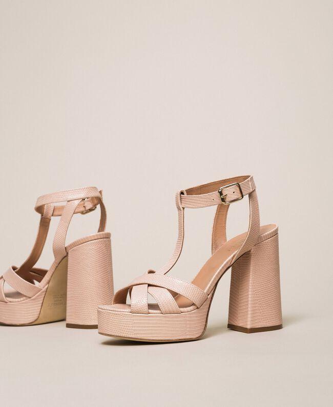 T-Bar-Sandalette aus Leder Blütenknospenrosa Frau 201TCP070-01