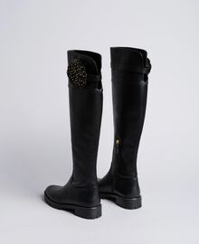 Overkneestiefel aus Leder mit Blume Schwarz Frau CA8PNC-03