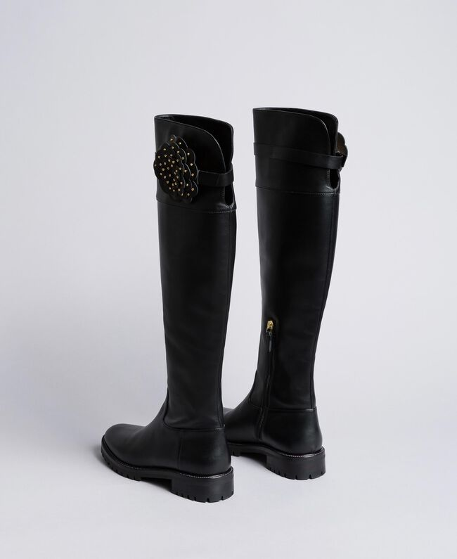 Leather over-the-knee boots with flower Black Woman CA8PNC-03