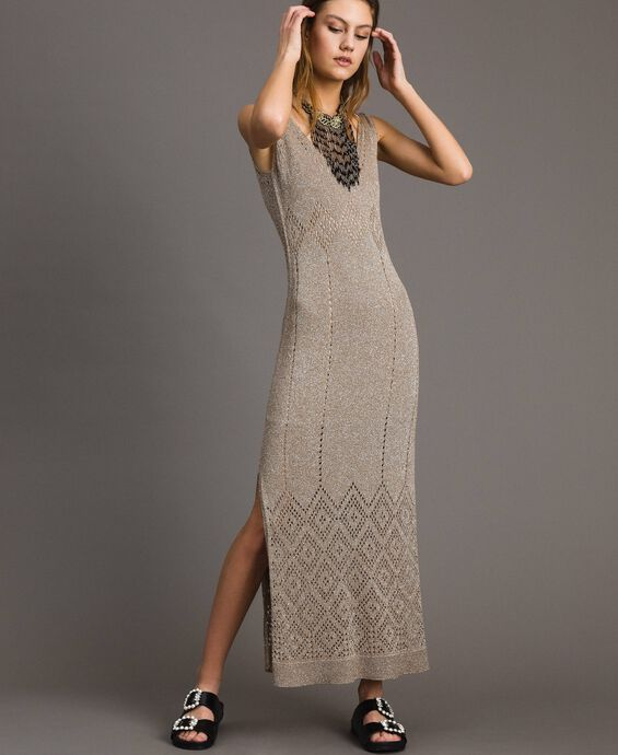 Long openwork lurex dress