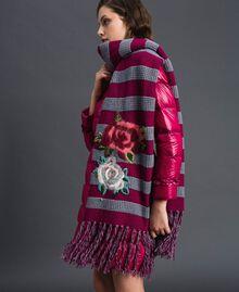 Sciarpa in maglia a righe con ricamo e frange Riga Rosso Beet / Grigio Mélange Donna 192TA441K-0S