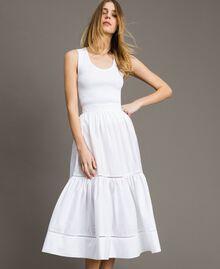 Jupe mi-longue en popeline Blanc Femme 191TT224B-01