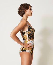 Badeanzug mit Print Kleiner Muschelprint Elfenbeinweiß Frau 211LMM7ZZ-02