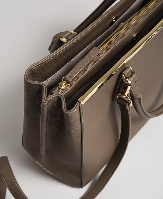 Borsa shopper in similpelle con logo Beige Taupe Donna 192TO8050-04