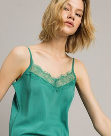 Crêpe de Chine top with lace Garden Green Woman 191ST2060-04