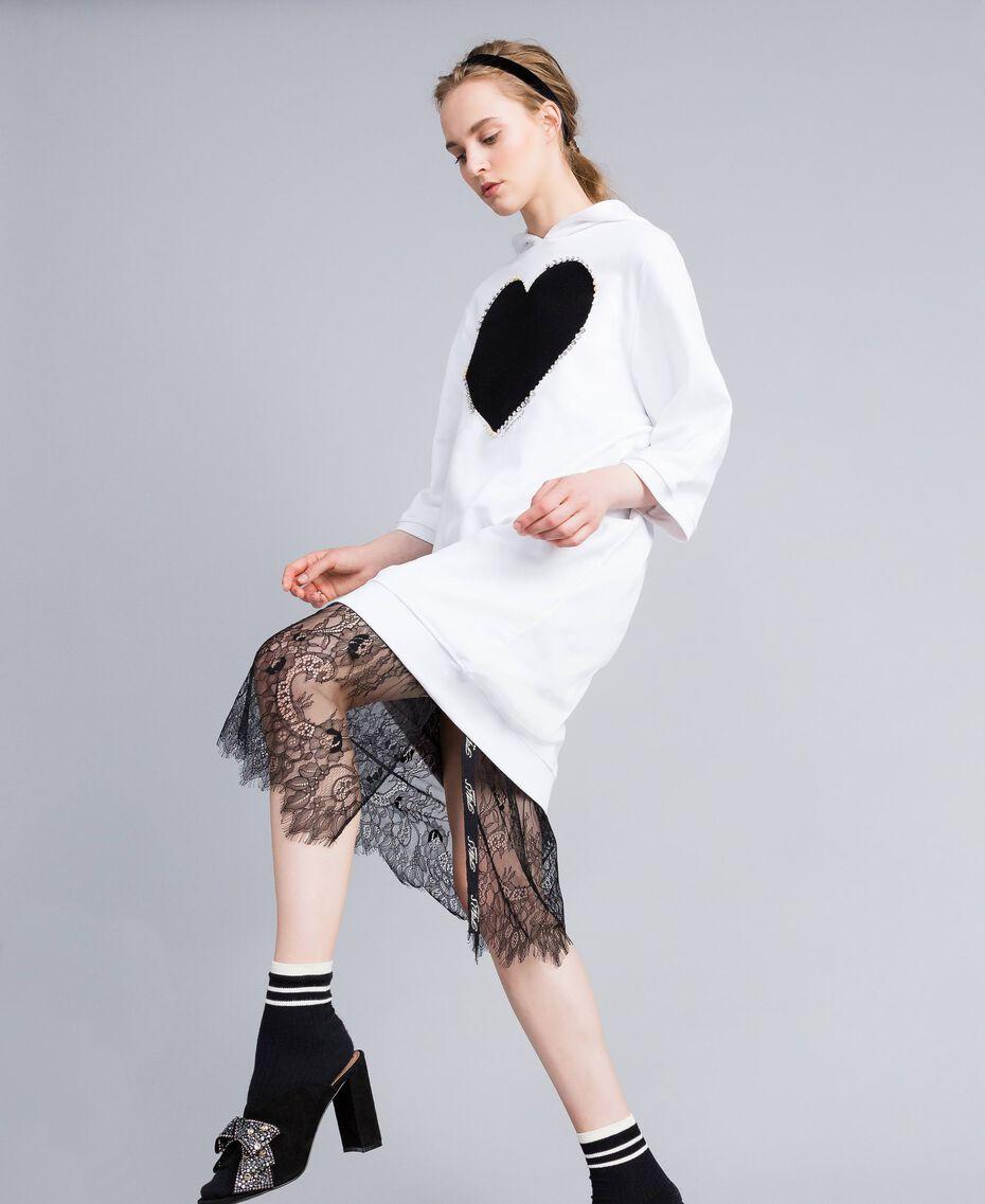 Kleid aus Baumwolle mit Flockherz Weiß Frau PA82CG-0T