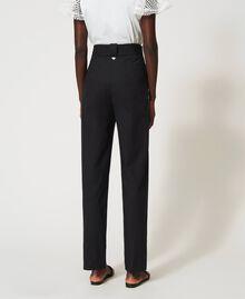 Pantalon en popeline avec broderie Noir Femme 211TT2473-04