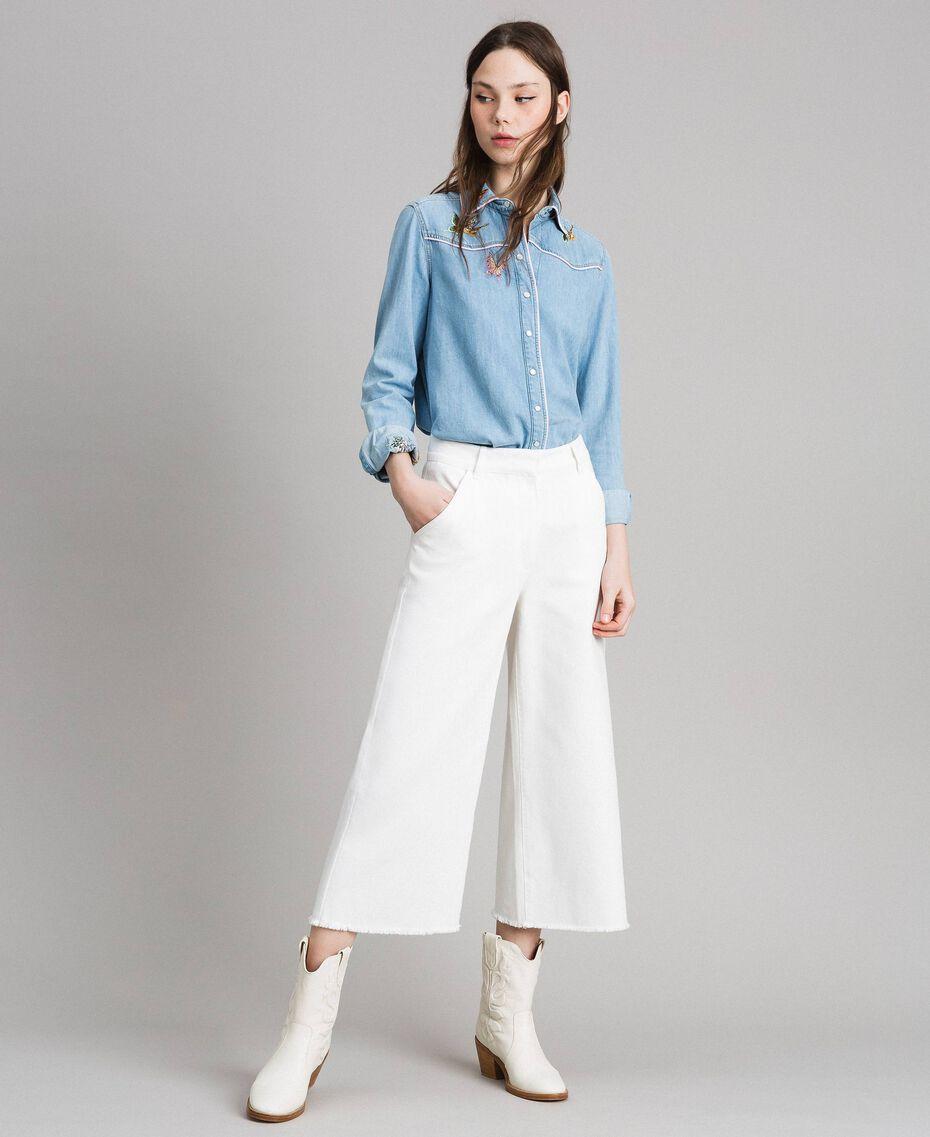Weite Hose aus Baumwolle Weiß Schnee Frau 191TP2191-02