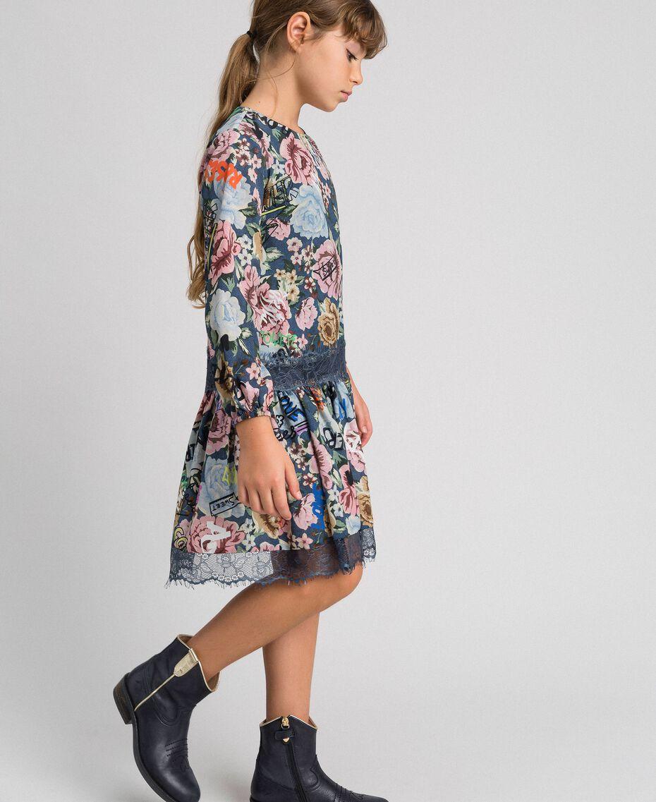 Crêpe dress with floral and graffiti print Graffiti Print Child 192GJ2491-02